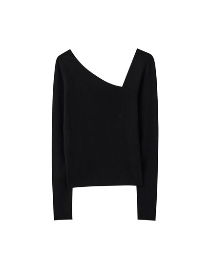 Black sweater with asymmetric neckline