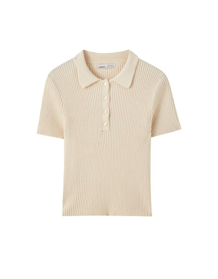 Short sleeve knit polo shirt