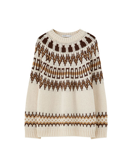 Sand-coloured jacquard sweater