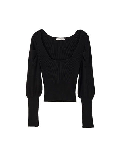 Black sweater with a square-cut neckline