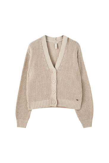 Short buttoned knit cardigan