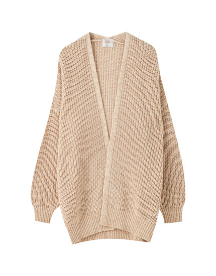 Beige long knit cardigan