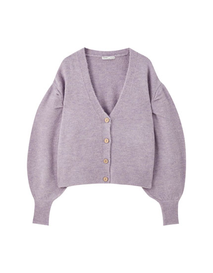 Knit cardigan with full sleeves