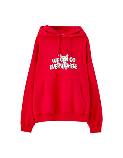 Hoodie with mouse illustration and slogan