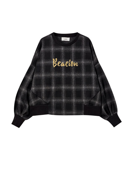 Checked 'Beacion' slogan sweatshirt