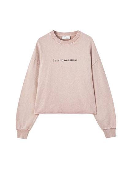 Faded sweatshirt with slogan