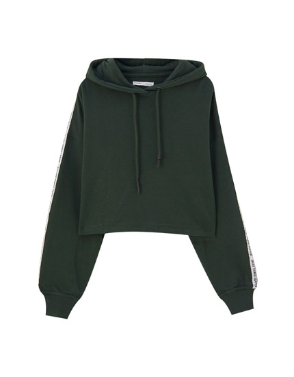 Hoodie with contrast side stripes and slogan