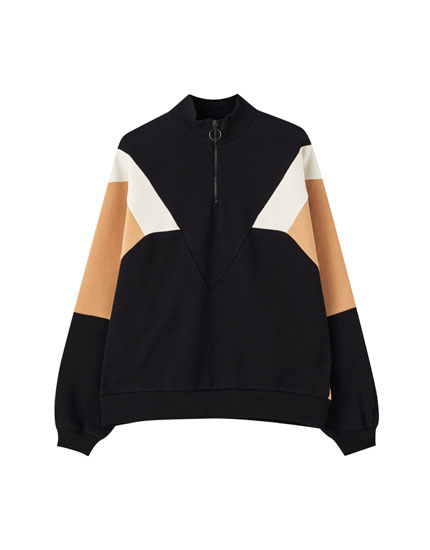 Colour block design sweatshirt with zip