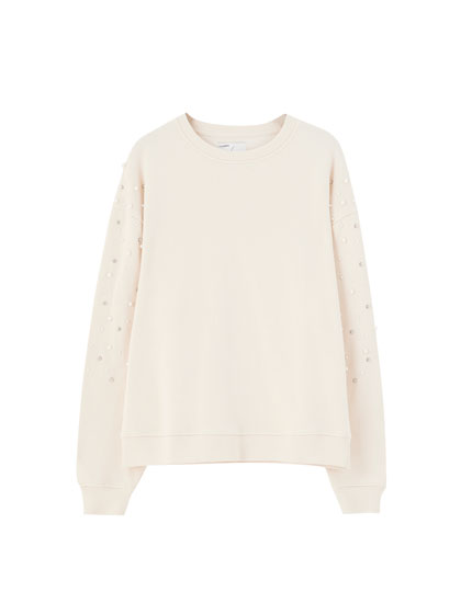 Sand-coloured sweatshirt with faux pearls