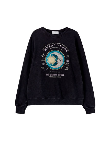 Faded sweatshirt with moon illustration