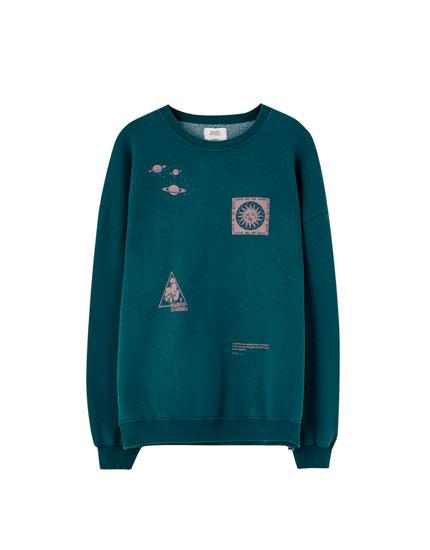 Turquoise contrast print sweatshirt
