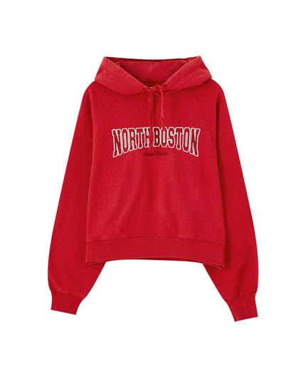 Red varsity hoodie