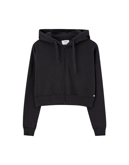 Cropped zip-up hoodie