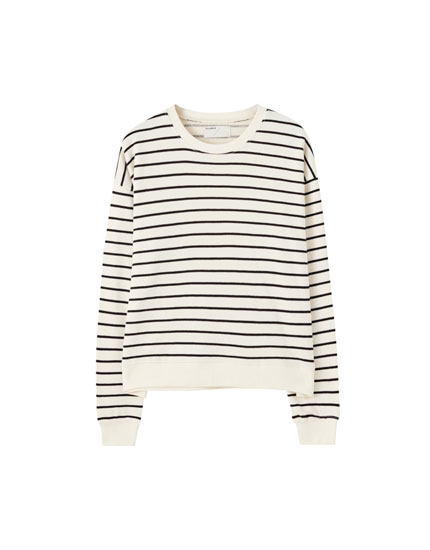 Basic stripe print sweatshirt