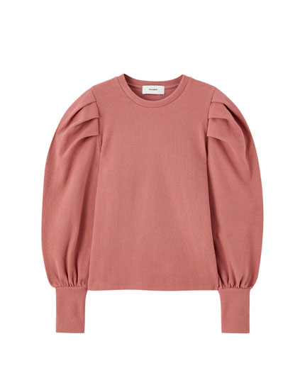 Soft-touch sweatshirt with volume detail