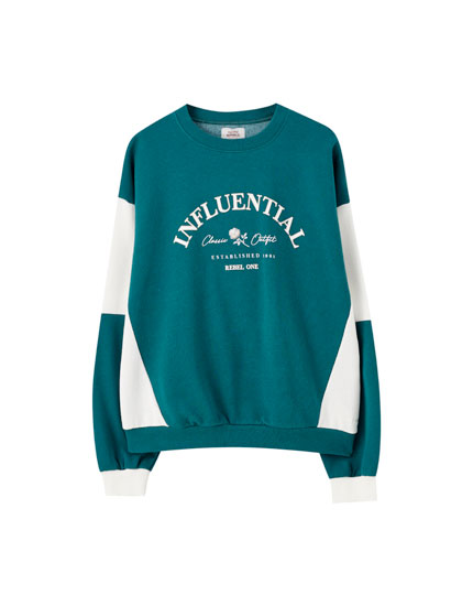 Green colour block sweatshirt