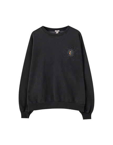Sweatshirt with sun and moon print