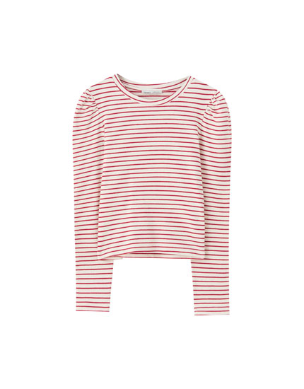 Striped T-shirt with puff sleeves