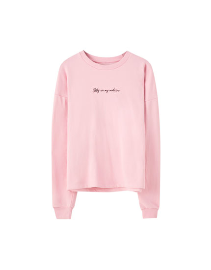 Colourful sweatshirt with contrast slogan