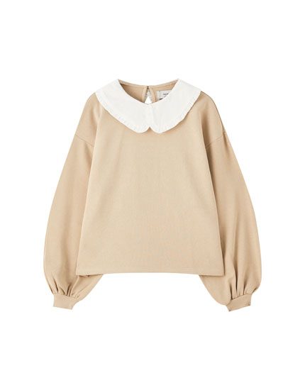 Contrast peter pan collar sweatshirt