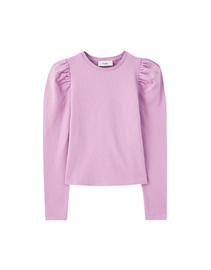 Sweatshirt with long puff sleeves