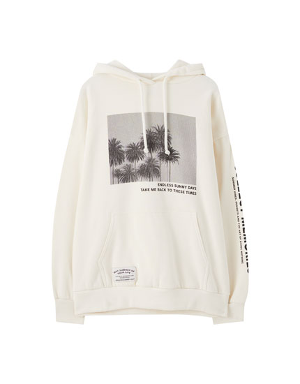 Sweat blanc illustration palmiers