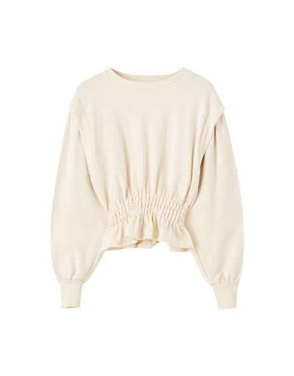 Elasticated sweatshirt with detailed shoulders