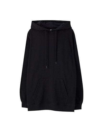 Βαμβακερό φούτερ oversize basic