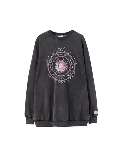 Faded sweatshirt with sun illustration