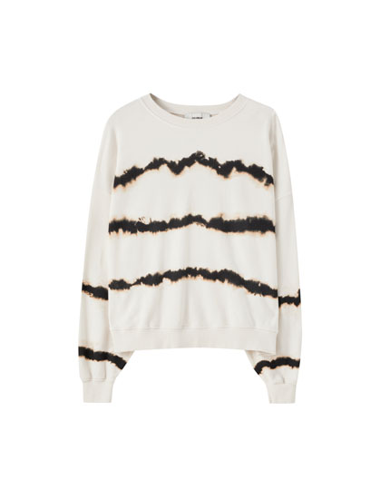 Striped tie-dye sweatshirt