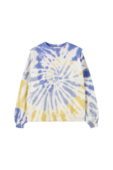 Tie-dye sweatshirt with full shoulders