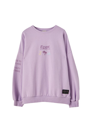 Lilac contrast illustration sweatshirt