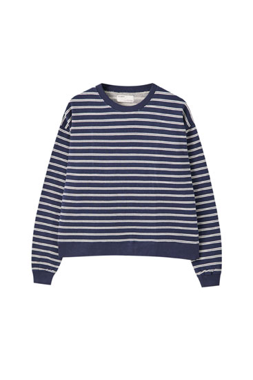 Svītrains džemperis tumši zilā krāsā