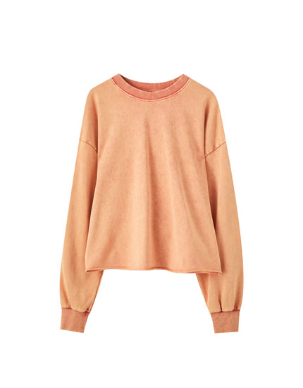 Faded-effect coloured sweatshirt