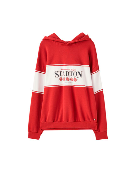Red colour block 'Stadton' hoodie