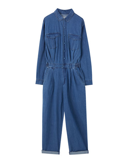 Denim jumpsuit with dart details