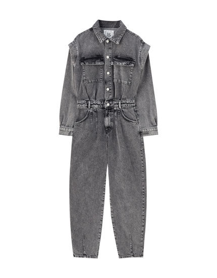 Denim jumpsuit with large buttons