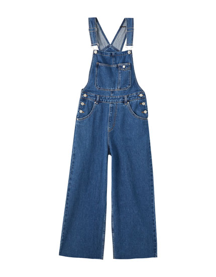 Long wide-leg denim dungarees