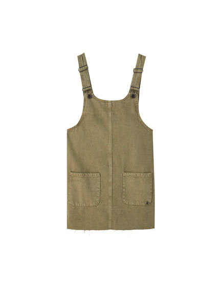 Short cotton pinafore dress with pockets