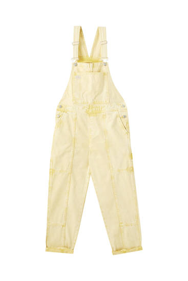 Oversized yellow denim dungarees