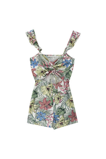 Floral playsuit with gathered detail