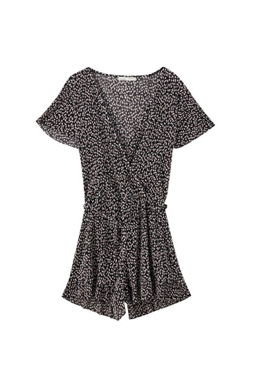 Pleated wrap playsuit