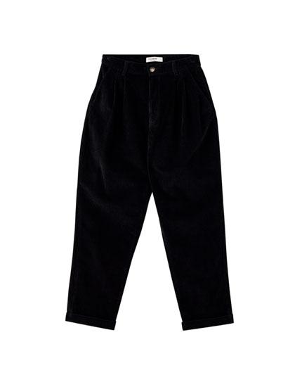 Μαύρο κοτλέ παντελόνι slouchy
