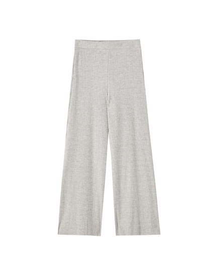 Ribbed cotton culotte trousers