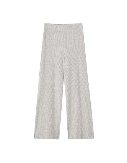 Jupe-culotte maille côtelée coton