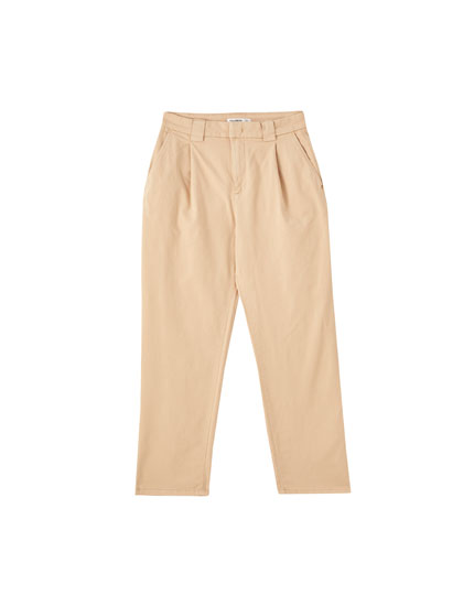 Twill darted chino trousers