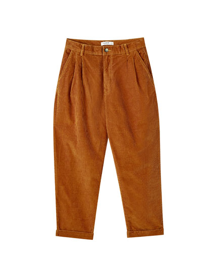Darted corduroy trousers