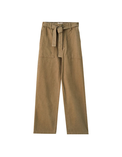 Belted trousers with patch pockets