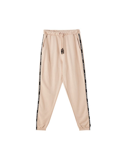 Pantalon jogger bande inscription
