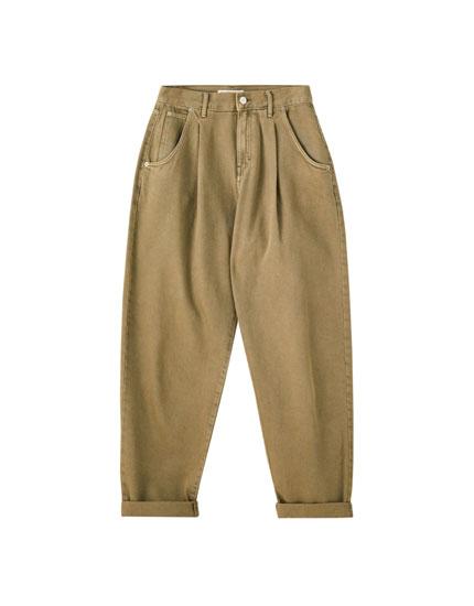 Jeans slouchy basique à pinces